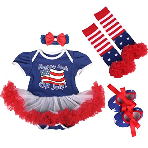 OBEEII 4th of July Baby Toddler Girl American Flag Romper Tutu Dress Headband Leg Warmers Shoes Clothes Outfits S