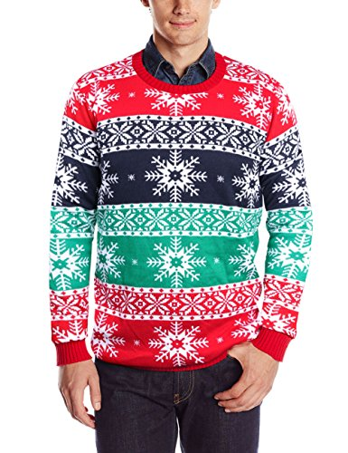 RAISEVERN Men's Ugly Christmas Sweater Long Sleeve Crewneck Knitted Oversized Pullover Sweater Snowflakes Small for $<!--$29.99-->