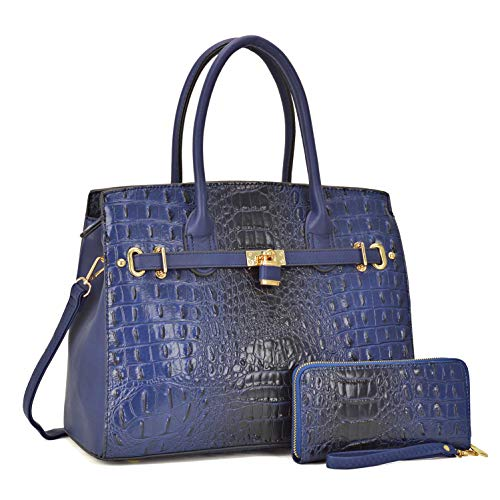 Dasein Satchel Handbags Vegan Leather Purses Shoulder Bags for Women with Shoulder Strap (Croco-Navy)