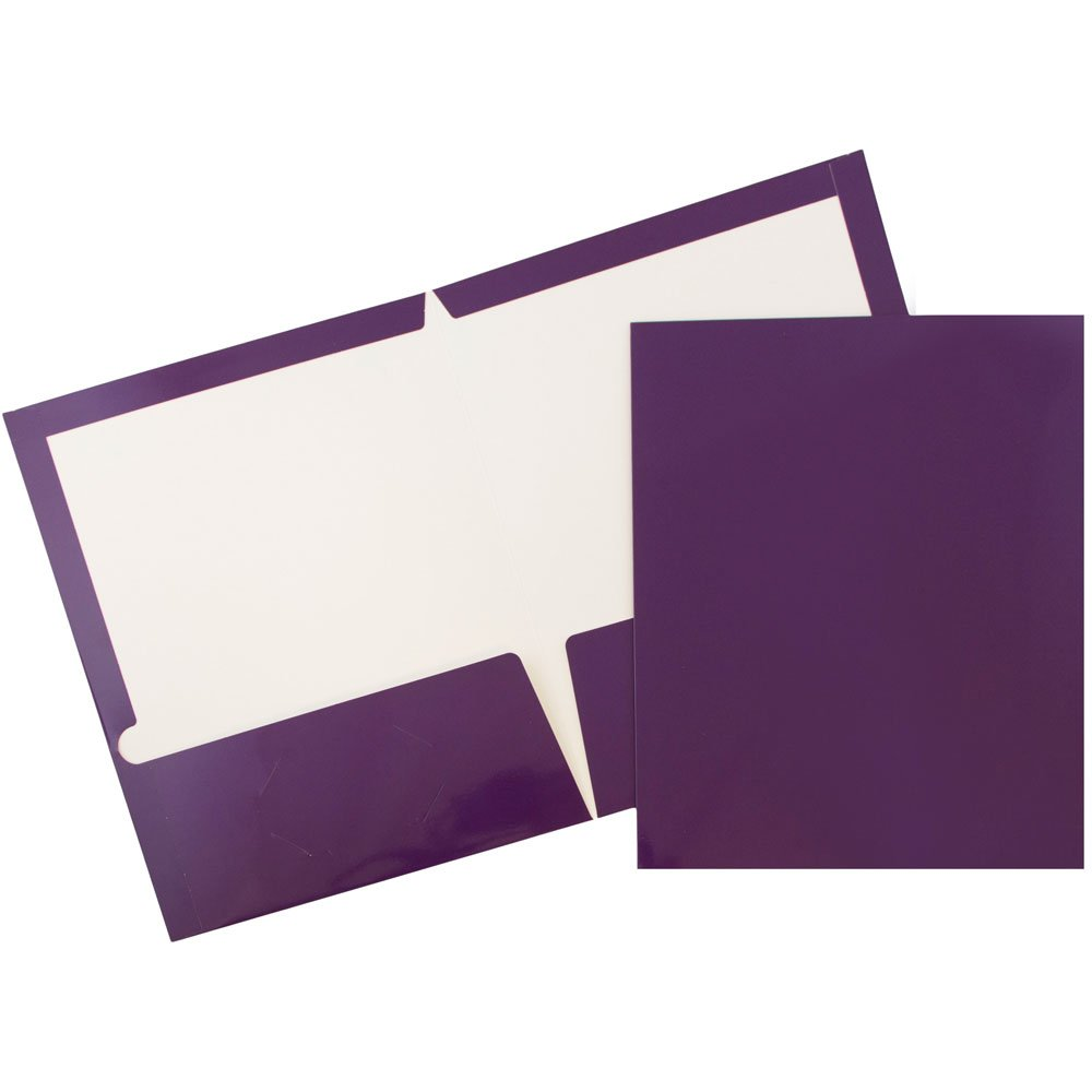 JAM Paper Glossy Two Pocket Presentation Folder - Purple - 100/pack