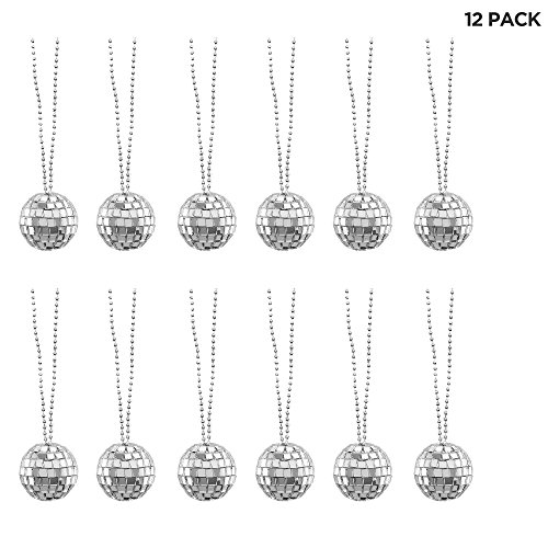 Mini Disco Ball Necklaces - 70s Dance Party Favor Decorations - 12 -