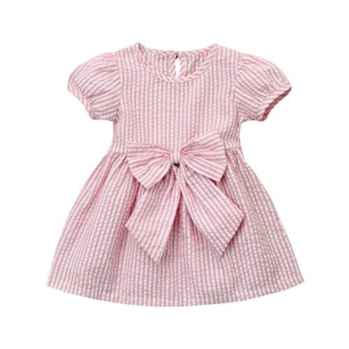 Baby Girls Infant Toddler Kids Cute Short Sleeve Stripe Dresses Big Bow Princess Outfits Dress (Pink, 0-6 Months)