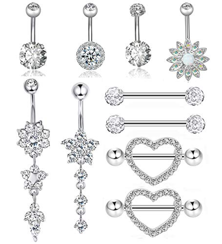Adramata 10 Pcs Stainless Steel Nipple Rings Tongue Ring Piercing Body Jewelry Barbell CZ Heart Shape Rings for Women Girls 14G