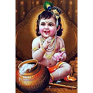 MANIAL PRINTNET Lord Baby Krishna Poster | HD Poster for Room Decor (12×18-Inch, 300GSM Thick Paper, Gloss Laminated, Multicolour)