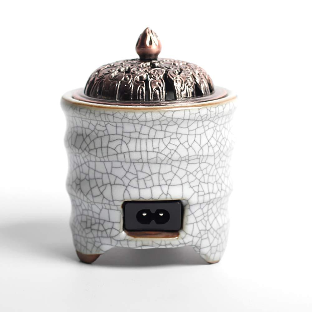 Bruciatore di Incenso in Ceramica Elettrico, Aromaterapia Timer per Bruciatore di Olio Essenziale, Porcellana per Casa, Balcone, Patio, Portico e Giardino QLshop