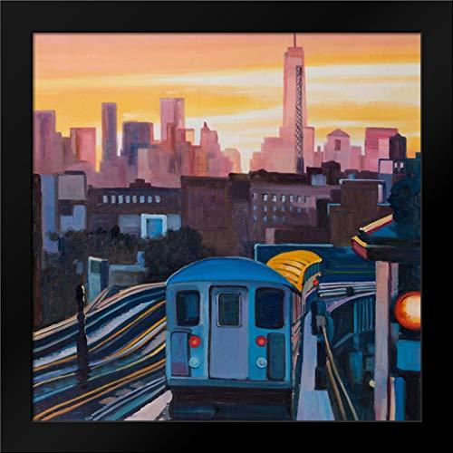 Sunset Over The Subway in New-York Framed Art Print by Atelier B Art Studio