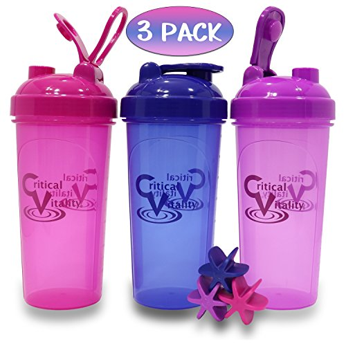 Protein Shaker Bottles by Critical Vitality | Magenta-Indigo-Violet 25oz/700ml Tumblers with Blender-Mixer-Balls, Leak Proof BPA Free Sports Travel Water Container Fits in Cup Holders Dishwasher Safe