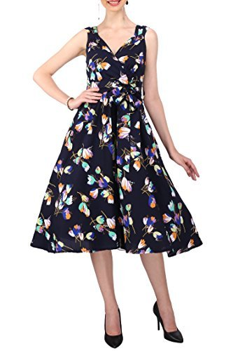 New Dress 40s 50s Style Swing Vintage Rockabilly Ladies Floral Bird Womens  Party Dresses Plus Size 22