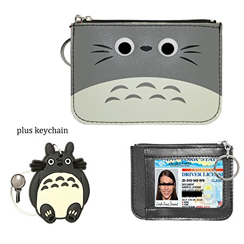 Leather Cute Wallet, ID Card Holder, Coin Pouch Purse Key Holder for Women and Girls (Totoro (Face Coin Purse)