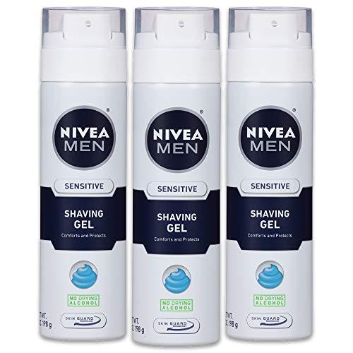 NIVEA Men Sensitive Shaving Gel - Protects Sensitive Skin From Shave Irritation - 7 oz. Can (Pack of 3)