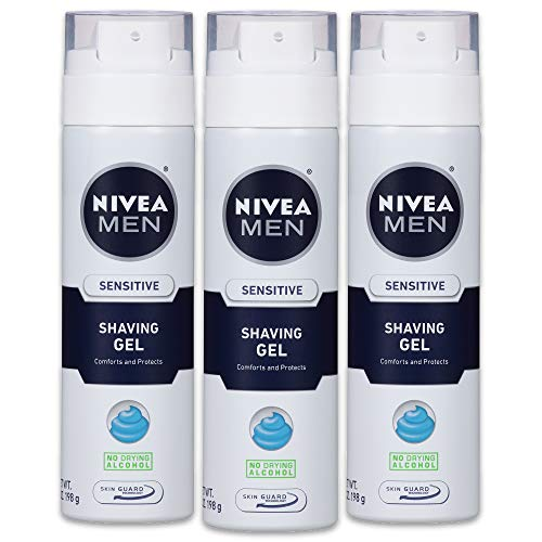 NIVEA Men Sensitive Shaving Gel - Protects Sensitive Skin From Shave Irritation - 7 oz. Can (Pack of 3) (Best Shaving Cream For Sensitive Skin Womens)