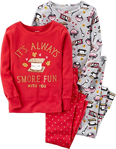 (Carter's Girls' 2T-12 4 Piece Bedtime S'more Fun Pajamas Red 3T)