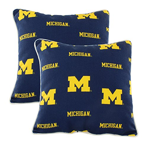 College Covers MICODPPR Michigan Wolverines Outdoor Decorative Pillow Pair, 16'' x 16'', Blue by College Covers (Image #1)