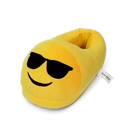 Desire Deluxe Zapatillas Casa Invierno con Figura de Emoji en Forma de Gafas Para Sol Sonriente - Pantunflas Invierno de Talla Universal para Hombre, ...