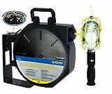 Voltec 07-00254 16/3 SJTW Industrial Metal Guard Worklight Retractable Reel, 50-Foot, Yellow & Black