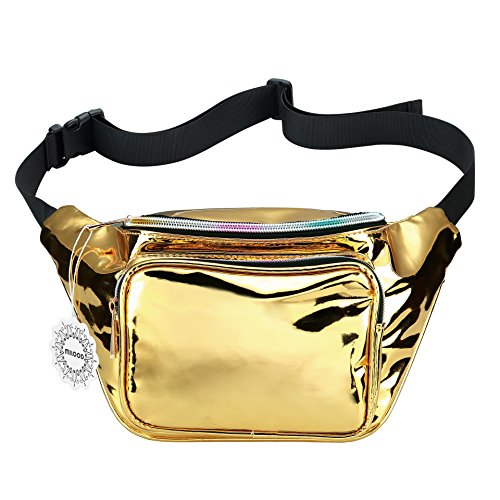 Water Resistant Shiny Neon Fanny Bag for Women Rave Festival Hologram Bum Travel Waist Pack (Gold)