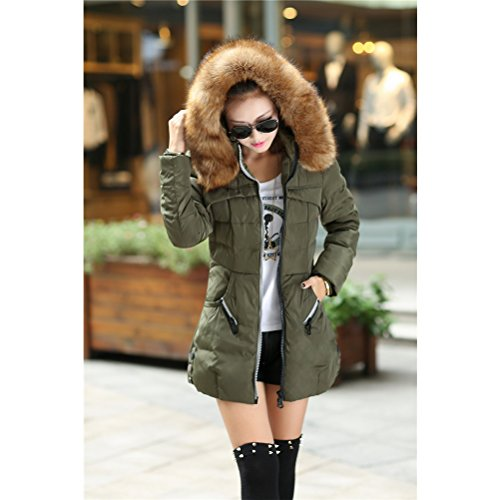 pour Chic Zhhlinyuan Femmes Coats Warm Sale Fashion Collar Thick Padded Down Big Hiver Jacket On et Zip Red Slim Hooded élégant 6BFrd6q