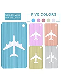 Aluminum Kid Luggage Suitcase Tags Cute Colorful Bag Straps Set for Cruise Ship -5 Tags 2 Straps