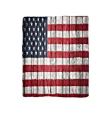 VROSELV Custom Blanket Rustic American Usa Flag Fourth Of July Independence Day Adorn National Democracy Art Rough Wood Looking Bedroom Living Room Dorm