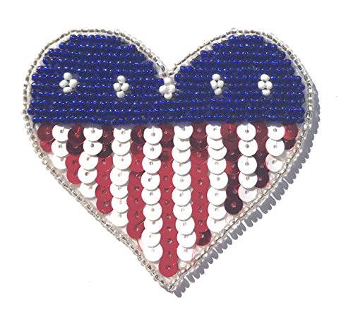 (Patriotic USA American Heart Beaded Sequined Sew-On Applique Patch (Pack of 2))