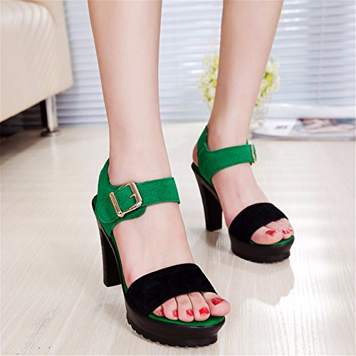 alti Estate scamosciata nuova pelle tacco alto donna black banchetto partito sexy tacchi sandali moda in YMFIE 4w6qC4