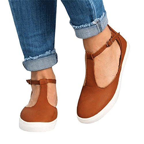 (TnaIolral Women Shoes Vintage Out Round Toe Platform Flat Heel Buckle Strap Summer Shoes (US:6, Brown))