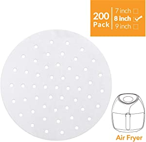 """Air Fryer Liners - 200 Pcs, 7"""" 8"""" 9"""" Perforated Parchment Non-Stick Air Fryer Liners/Bamboo Steaming Paper/Perforated Parchment Paper Sheets (Round-White)"""