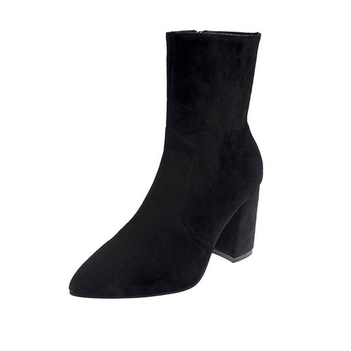 GTVERNH Frauen Schuhe/8 cm High Heels Martin Stiefel Englisch Winde Im Frühjahr Und Herbst Rau Und Wild Sharp Seite Reißverschlüsse.