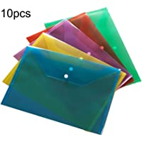 10 Packs Colored Filling File Folders Plastic File Envelopes Premium Quality Clear Document Folders Poly Envelope Folders Transparent Project Envelope Folders A4 Letter Size (5 Colors)