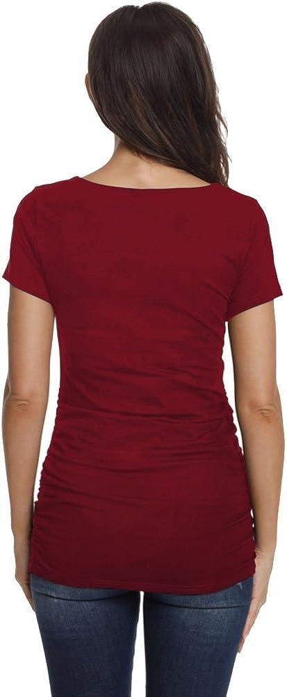 Schwangerschafts-T-Shirt Schn/ürung seitlich lang/ärmlig Tunika Jezero Damen Umstandsshirt R/üschen V-Ausschnitt