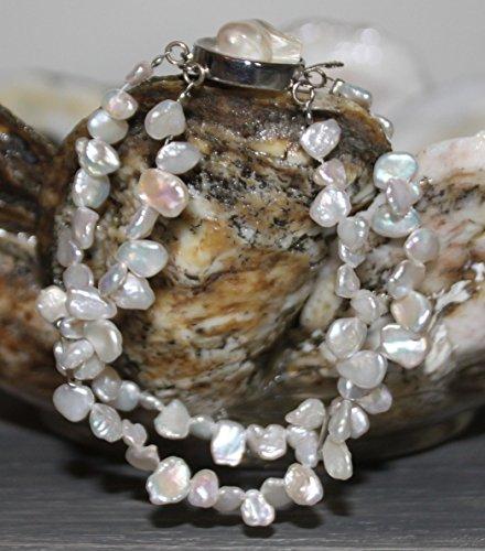 7 3/4 inch White Freshwater Keishi Pearl Bracelet SKU 4WH7SBA1.
