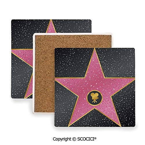 Ceramic Coaster With Cork Mat on the back side, Tabletop Protection for Any Table Type, Square coaster,Popstar Party,Hollywood Walk of Fame Symbol Celebrity,3.9
