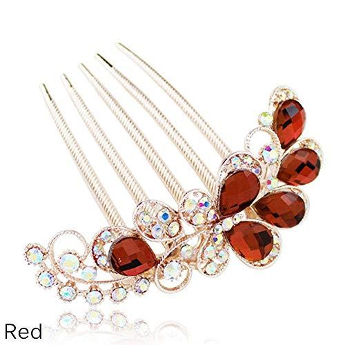 one Hair Combs Crystal Hair Clips Rhinestone Barrette Hair Pin Bridal Hair Accessories (Red) ()
