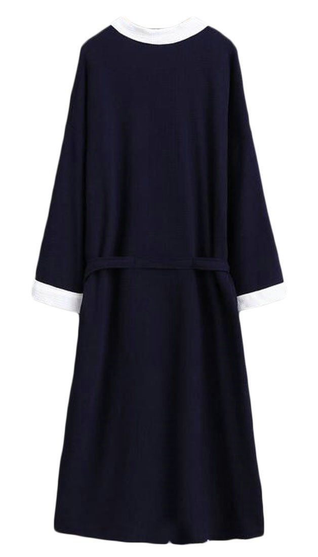 Cromoncent Mens Hotel Cotton Homewear Bathrobe Spa Waffle Kimono Comfort Robe Navy Blue2 Large by Cromoncent (Image #2)