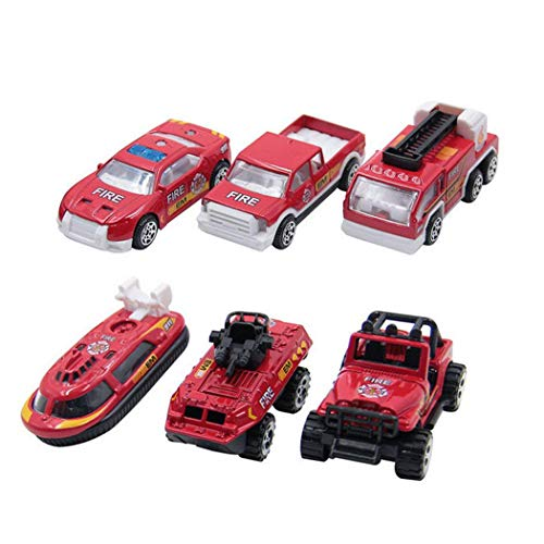 si ying Mini Fire Truck Series Car Artificial Model Toy (Pack of 6) Playset Preschool Learning for Children Toddlers Kids Gift