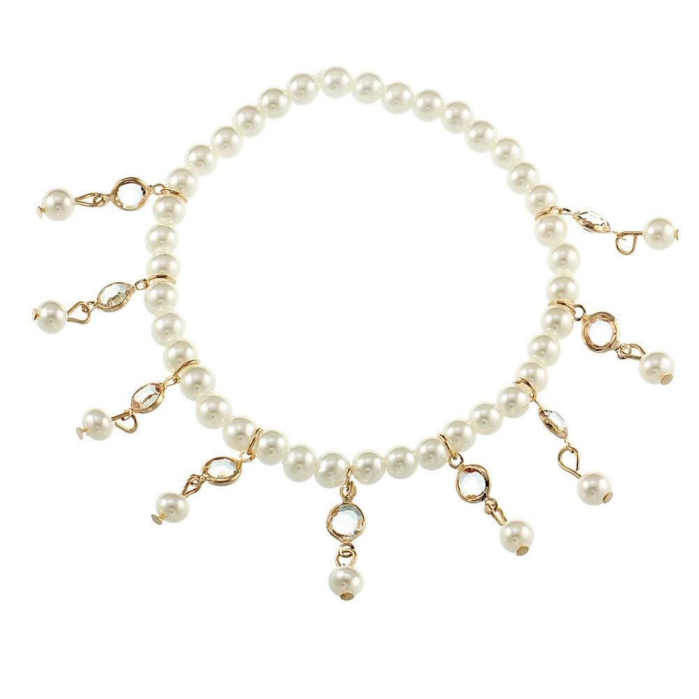 BulingVV 18K Gold Plated Boho Beach White Crystal Tassel Imitation Pearls Anklet Girls Stretch Ankle Bracelet by BulingVV
