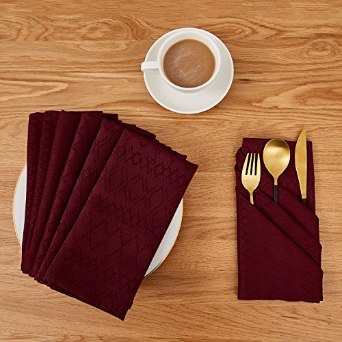 Deconovo Soft Jacquard Damask Dinner Cloth Napkins with Diamond Patterns 18 x 18 inch Stain and Spillproof Smooth Luxury Serviette for Banquets, Weddings, Family Gatherings Set of 6 Red