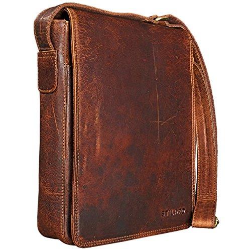 STILORD 'Joris' Vintage Mensajero de piel marrón de tamaño medio Bolso bandolera / Bolso de piel hombres mujeres vintage Tablets hasta 10,1 pulgadas kara - marrón
