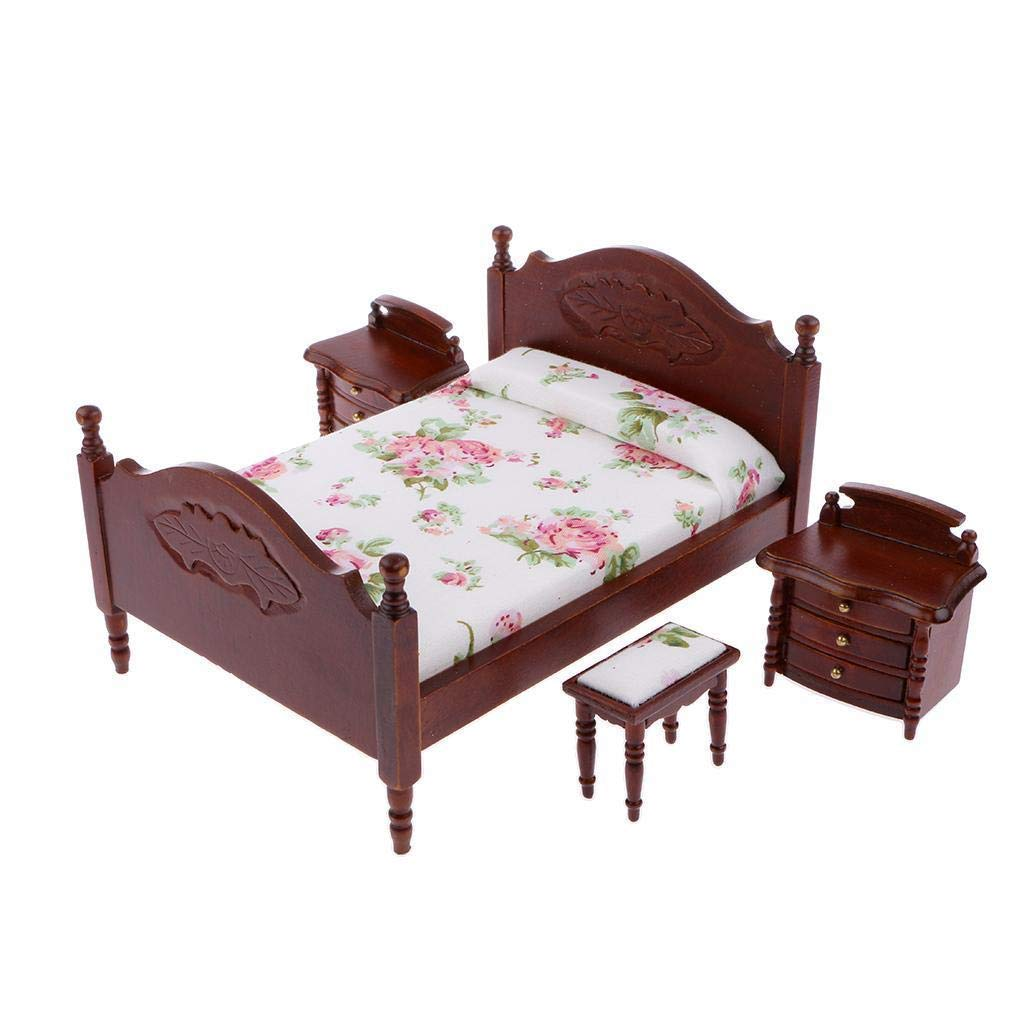 Amazon.com: 12th Doll House Miniature Bedroom Furnitures Bed ...