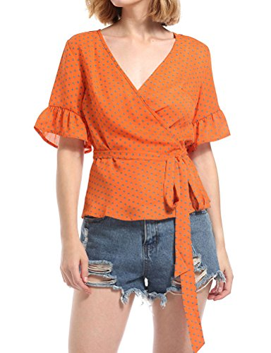 ZXZY Women Chiffon Blouse Belted Wrap V Neck Polka Dots Printed Shirt ()