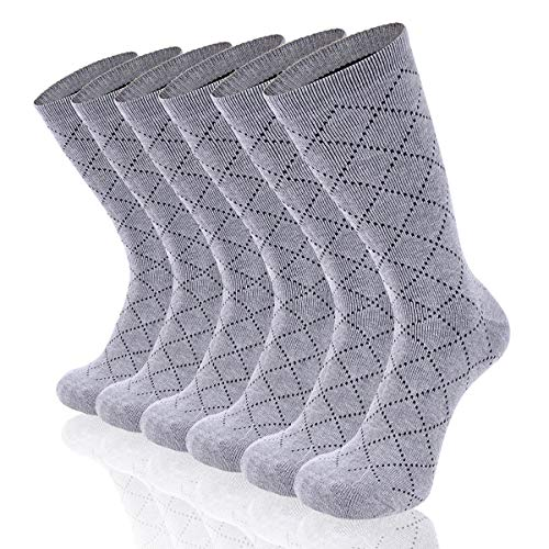 Argyle Thermal - Heatuff Men's Winter Crew Warm Socks Dotted Argyle Pattern Heavy Cushioned Thermal Sock 3 Pack