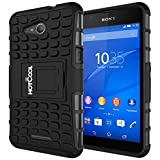 Sony Xperia E4g Case - HOTCOOL Heavy Duty Rugged Dual Layer Armor with Kickstand Cover Case For Sony Xperia E4g, Black