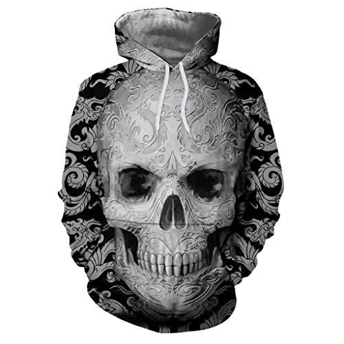 SMALLE◕‿◕ Fashion Item,Unisex Casual Punk Style Dragon Skull Print Long Sleeve Hoodies Sweatshirt-Street Style Top Gray