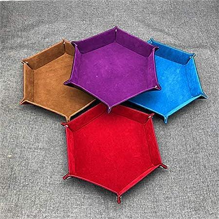 100 unidades por lote de bandejas plegables hexagonales de piel sintética de terciopelo, para juegos de mesa de dados, juegos de mesa de escritorio, bandeja de almacenamiento decorativa: Amazon.es: Hogar