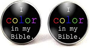Bible Journaling Supplies I Color in My Bible Bible Journaling Gift Christian Gift Idea Illustrated Faith Bible Journal Earings