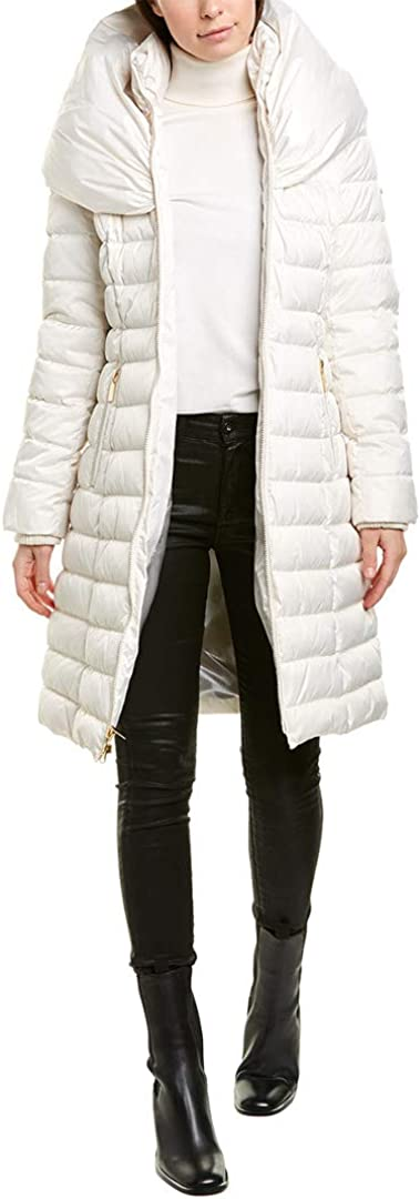 Laundry by Shelli Segal Women's White Down Pillow Collar Maxi Coat Puffer