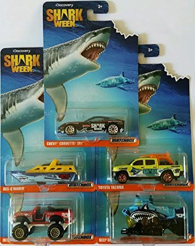 2016 Matchbox Discovery Shark Week Exclusive: Chevy Corvette ZR1, Res-Q Waver, International Scout 4x4, Toyota Tacoma, Deep Diver - Complete Set of 5!