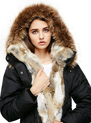 Escalier Women`s Down Coat With Real Raccoon Fur Hooded Parka Jacket Black (Fully Lined Parka)