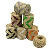 Aokbean 13 Yards/472 Inch Rustic Wedding Favor Jute Burlap Ribbon with Colorful Christmas Wave Trims Tape Ribbon with 98 feet Jute Twine