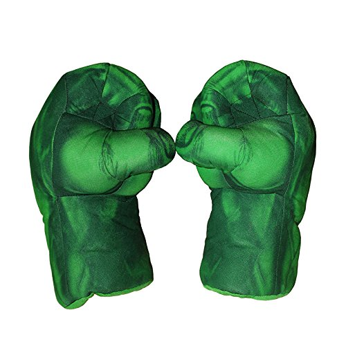 1 Pair of Toy Hulk Gloves Very Light Big Soft Plush Gloves Hulk Smash Hands Parent-Child Interactive Toy Accessories Hulk Hands Toys (Green) -